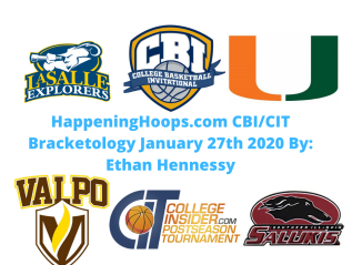 HappeningHoops.com CBI/CIT Bracketology Number 6 January 27th 2020