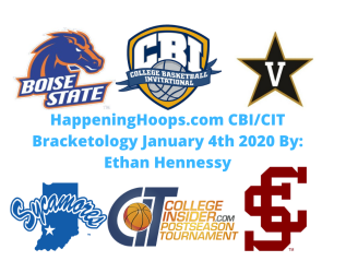 HappeningHoops.com 2020 CBI/CIT Bracketology Number 3 January 4th 2020