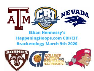 HappeningHoops.com CBI/CIT Bracketology Number 12 March 9th2020