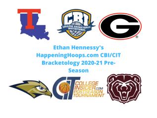 HappeningHoops.com CBI/CIT Bracketology 2020-21Pre-Season