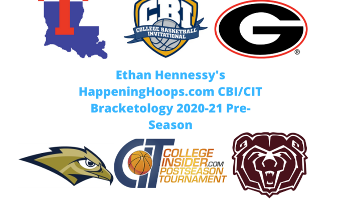 HappeningHoops.com CBI/CIT Bracketology 2020-21 Pre-Season